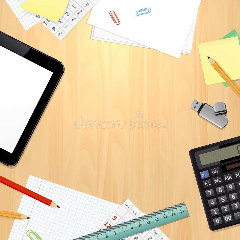 Draufsicht über Schreibtisch mit Geschäft und Büroartikel stock abbildung