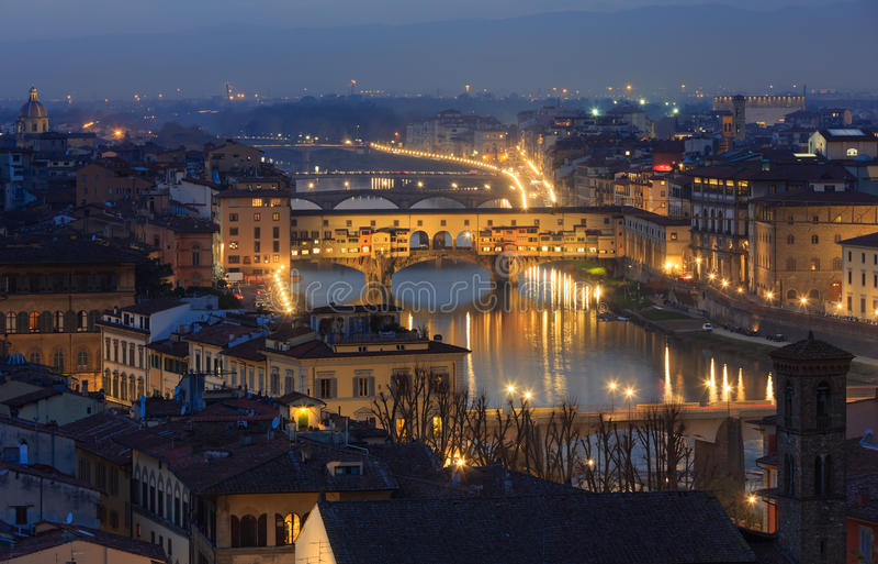 Draufsicht Abend-Florenz (Italien) stockbild