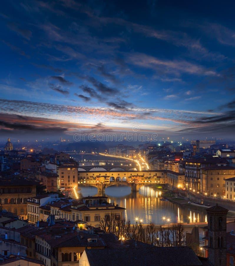 Draufsicht Abend-Florenz, Italien lizenzfreie stockfotografie