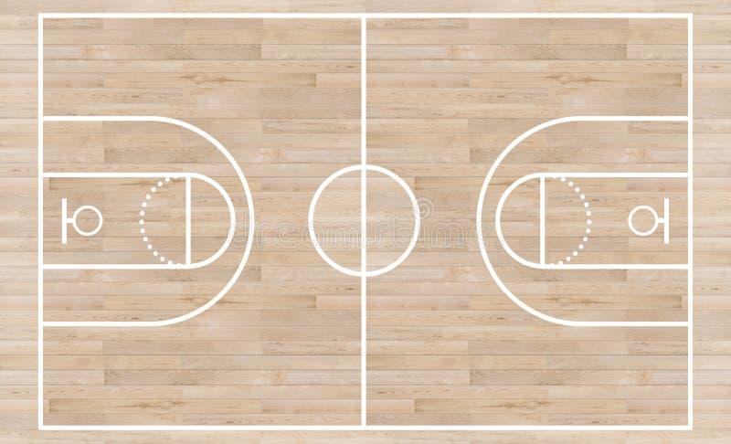 Draufsicht, Basketballplatz und Plan zeichnen auf hölzernem Beschaffenheitshintergrund stock abbildung