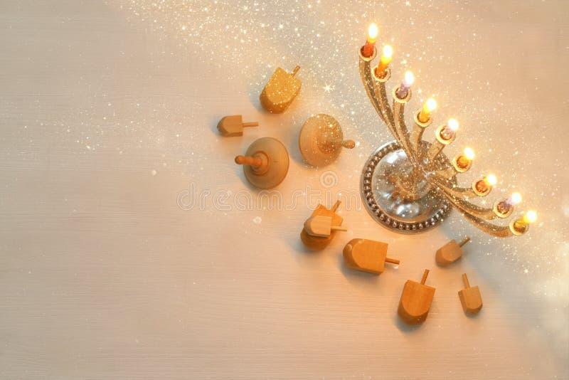 Draufsicht Bild des jüdischen Feiertags Chanukka lizenzfreie stockbilder