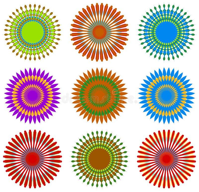 Draufsicht blüht mit unwirklicher Kombination von den Farben, die von t ausgewählt werden lizenzfreie abbildung