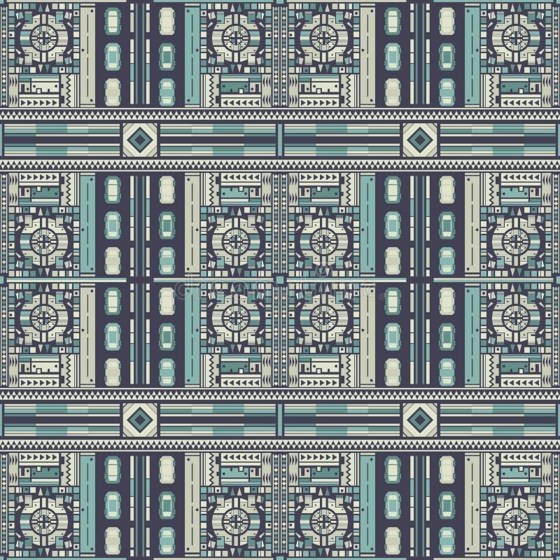 Draufsicht der abstrakten Stadt und der Autos seampless Muster stock abbildung