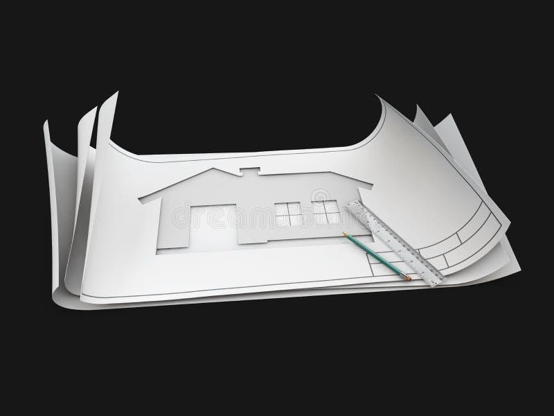 Draufsicht der Architektenzeichnung auf Architekturprojekt, lokalisiertes Schwarzes, Illustration 3d stockbilder