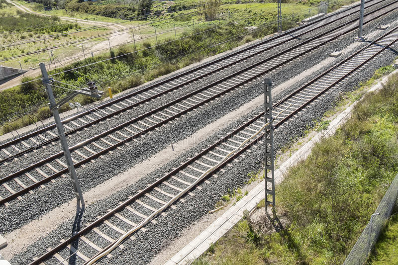 Draufsicht der Bahngleise stockfotografie