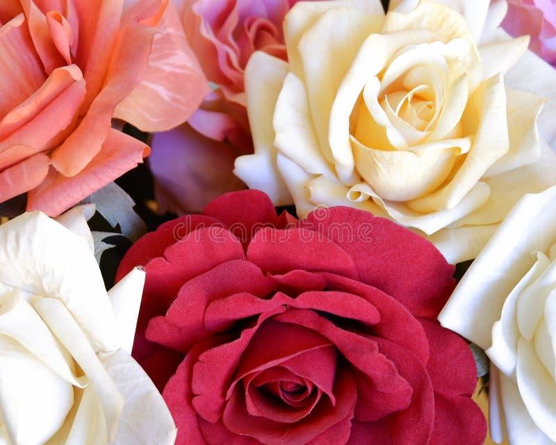 Draufsicht der bunten gef?lschten rosafarbenen Blumen lizenzfreies stockfoto