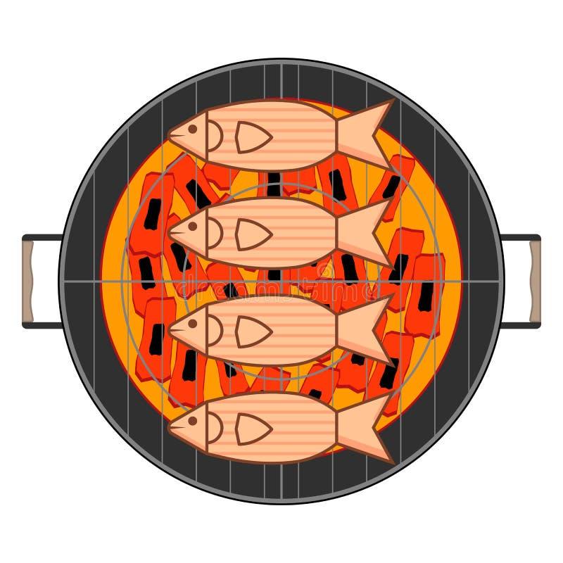 Draufsicht der Grillfische über weißen Hintergrund vektor abbildung