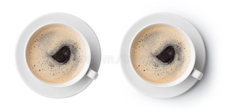 Draufsicht der Kaffeetasse  lizenzfreies stockfoto