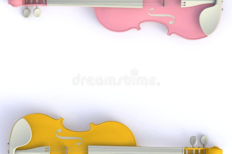 Draufsicht der klassischen rosa gelben Violine lokalisiert auf weißem Hintergrund, Streichinstrument stock abbildung