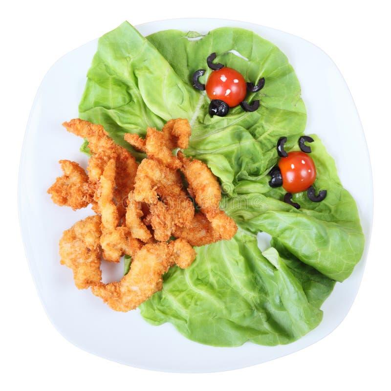 Draufsicht der Mahlzeit der Kinder stockfoto