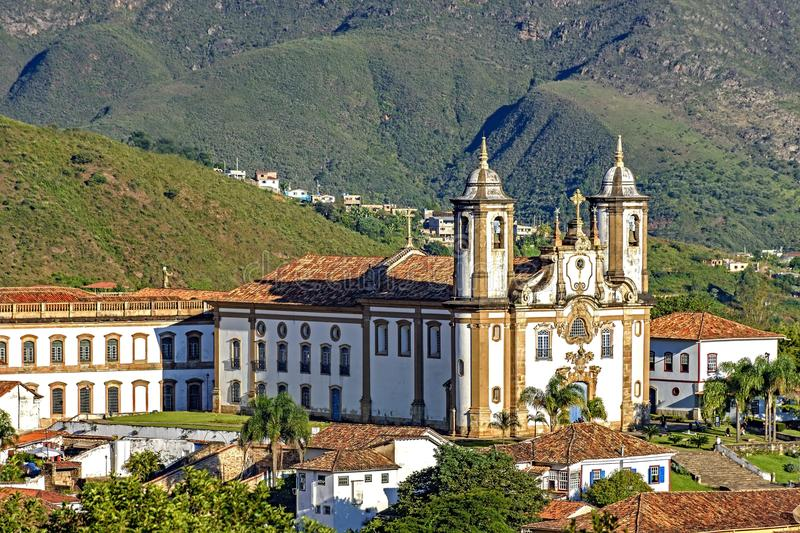 Draufsicht der Mitte der historischen Stadt Ouro Preto lizenzfreies stockfoto