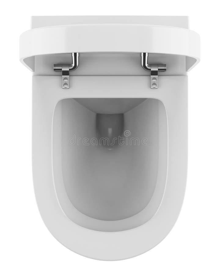Draufsicht der modernen Toilettenschüssel getrennt auf Weiß stock abbildung