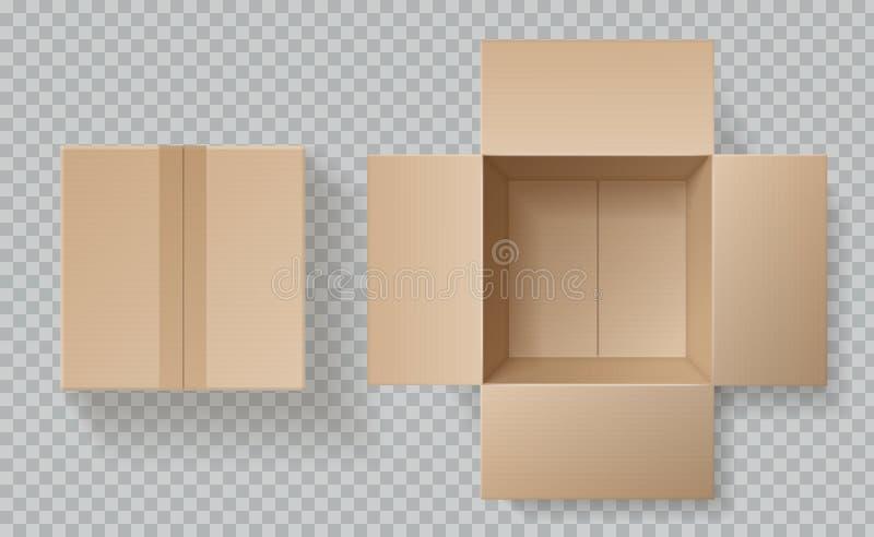 Draufsicht der Pappschachtel Open geschlossene Kästen nach innen und Spitzen-, braunes Satzmodell, realistischer leerer Karton de stock abbildung