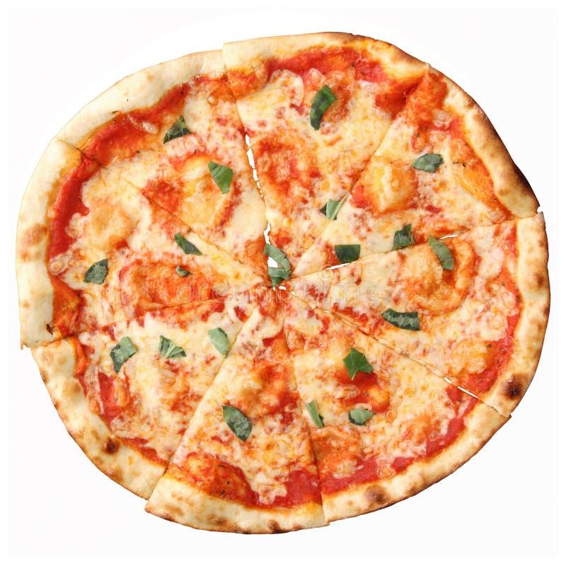 Draufsicht der Pizza Margherita stockfotografie
