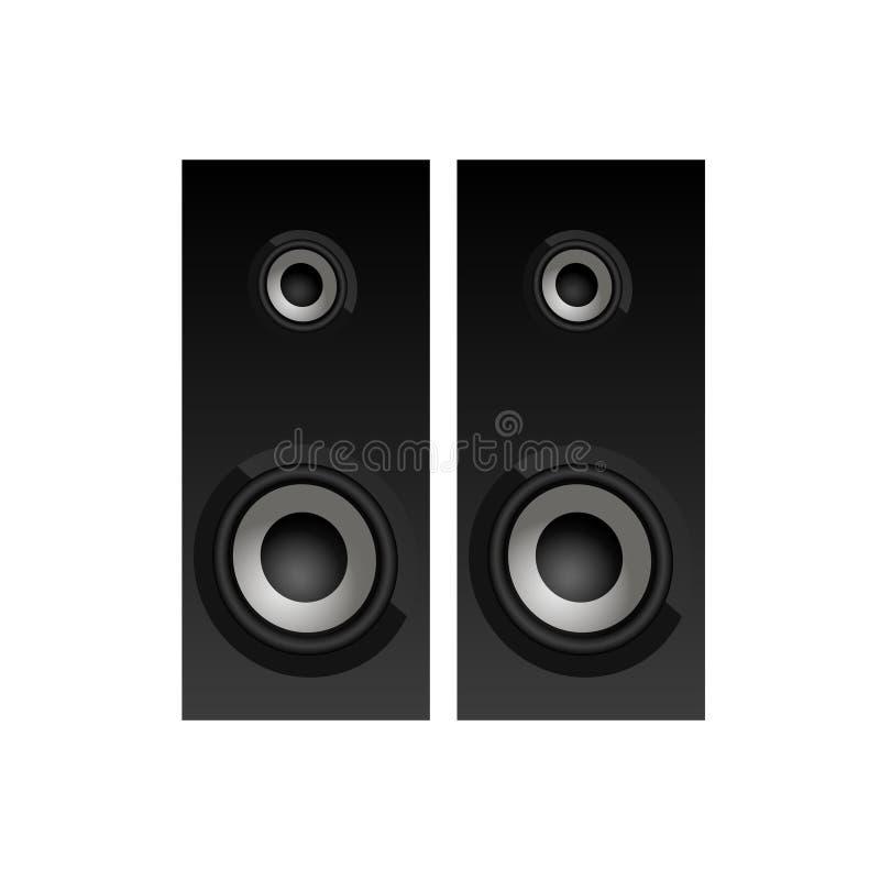 Draufsicht der realistischen schwarzen Lautsprecher Sprecherikone Vektor stock abbildung