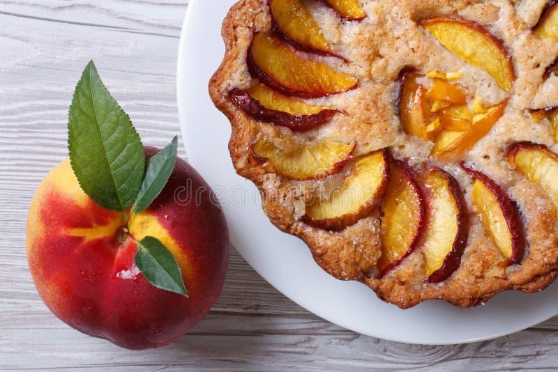 Draufsicht der scharfen und frischen Pfirsichnahaufnahme der Frucht lizenzfreies stockfoto