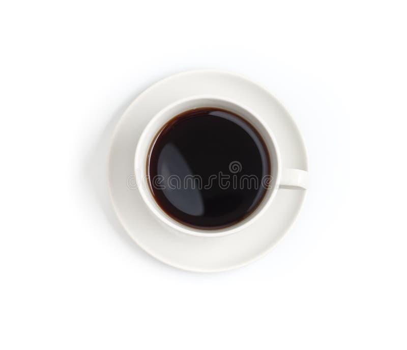 Draufsicht der schwarzen Kaffeetasse getrennt stockbild