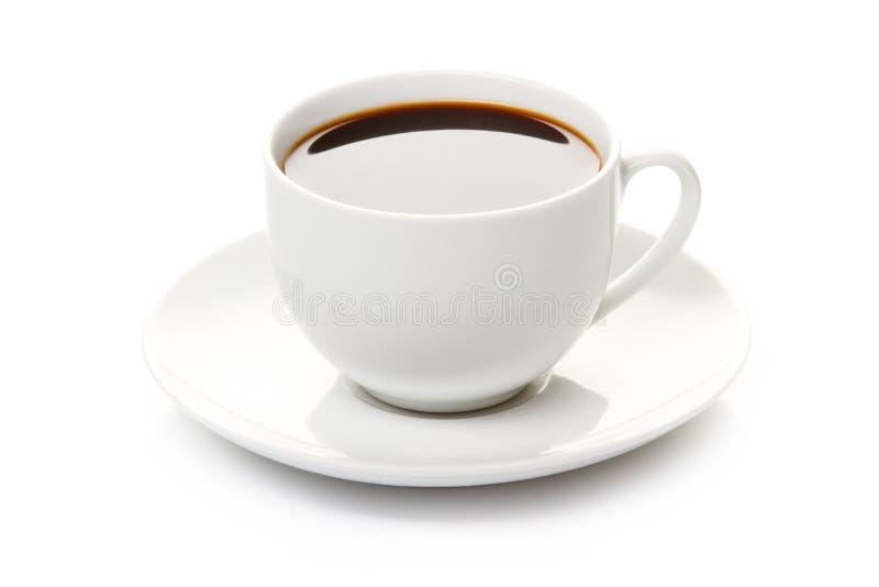 Draufsicht der schwarzen Kaffeetasse getrennt auf Weiß stockfotos