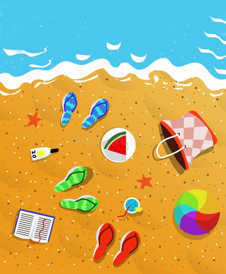 Draufsicht der Sommerferien-Konzeptillustration stockbild