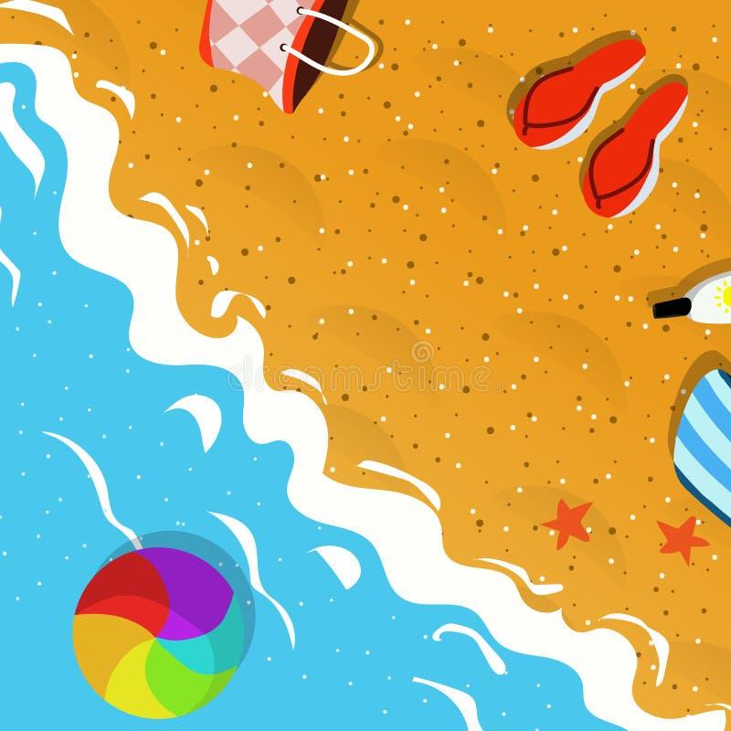 Draufsicht der Sommerferien-Konzeptillustration stockbilder