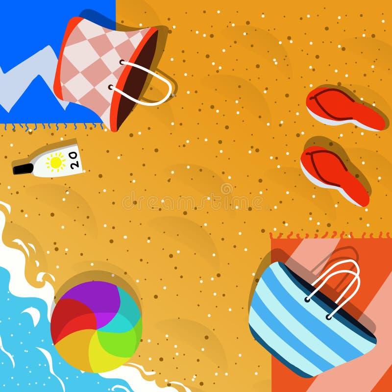 Draufsicht der Sommerferien-Konzeptillustration stockfoto