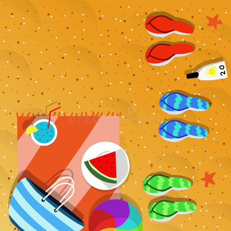 Draufsicht der Sommerferien-Konzeptillustration stockfotos