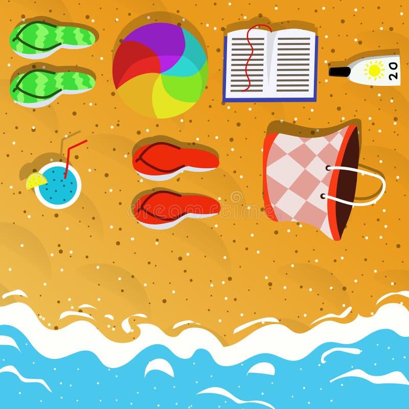 Draufsicht der Sommerferien-Konzeptillustration lizenzfreies stockbild