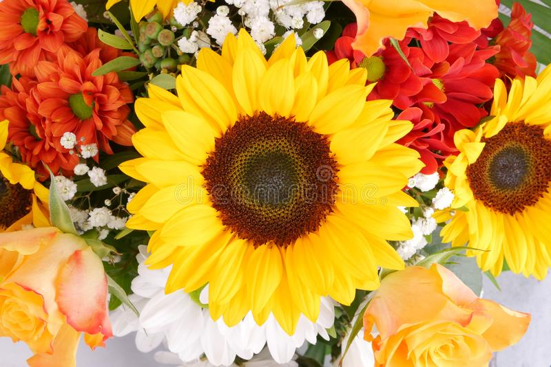 Draufsicht der Sonnenblume mit buntem Blumenstrauß der frischen Blumen stockbilder