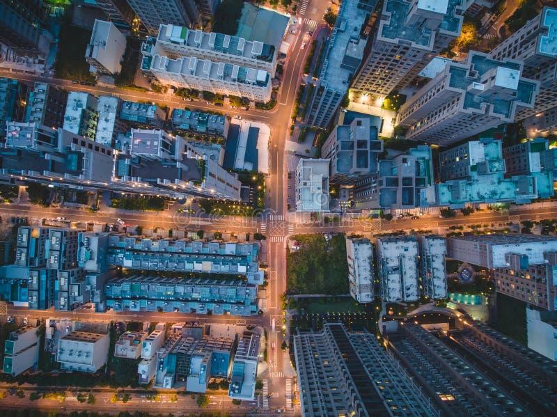Draufsicht der Stadt-Straße stockbilder