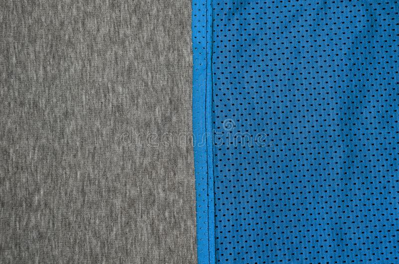 Draufsicht der Stoff-Textiloberfläche Nahaufnahme zerzauste Heizungs- und Maschenwarebeschaffenheit mit einem dünnen gestreiften  lizenzfreies stockbild