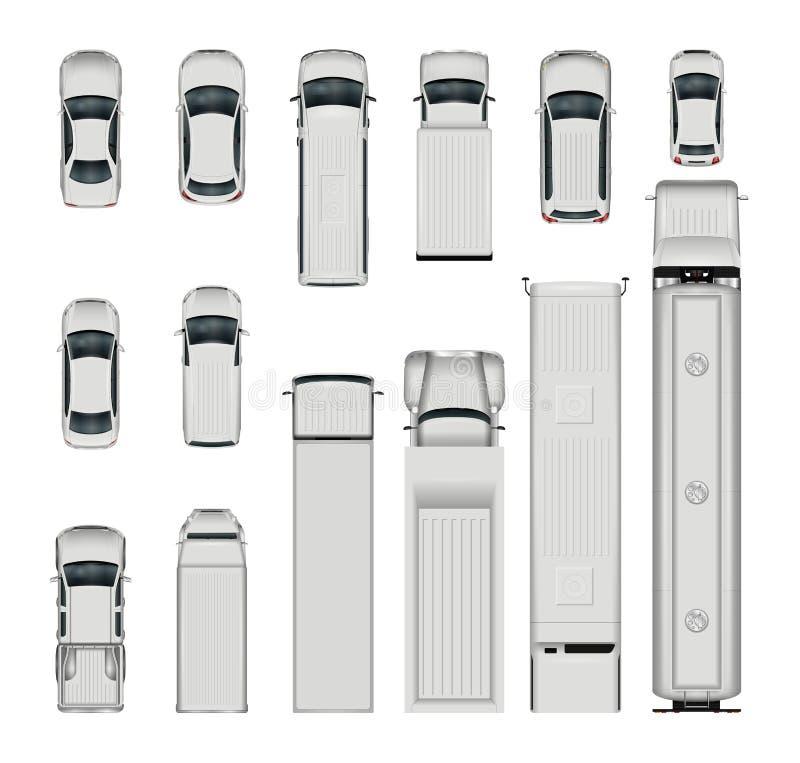 Draufsicht der Vektorautos lizenzfreie abbildung