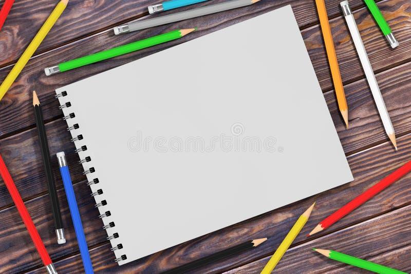 Draufsicht der Weiß-Spiralen-Papier-Abdeckung Art Book mit Mehrfarbenp lizenzfreie stockfotografie