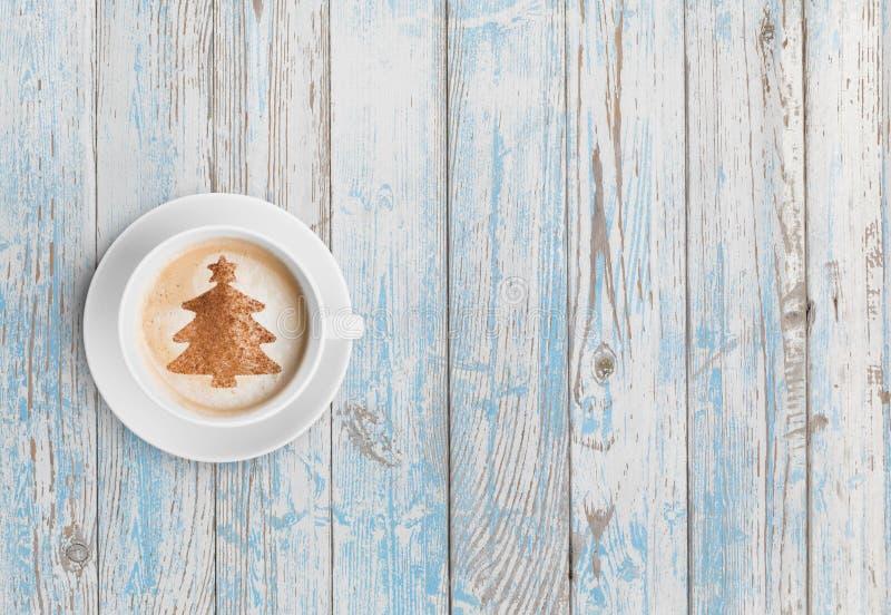 Draufsicht der Weihnachtskaffeetasse stockbild
