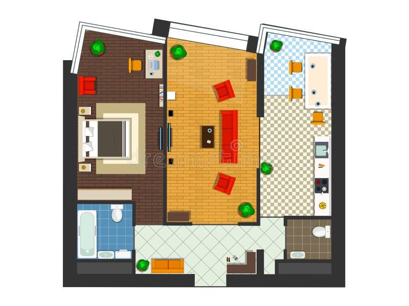 Draufsicht der Wohnung stock abbildung