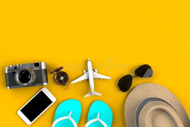 Draufsicht der Zusätze des Reisenden auf gelbem Tabellenhintergrund, wesentliche Ferieneinzelteile, Reisekonzept stockbild