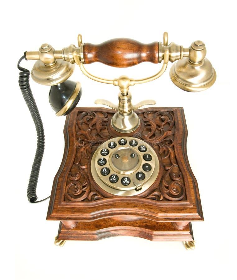 Draufsicht des altmodischen Telefons lizenzfreie stockfotografie