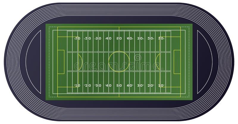 Draufsicht des amerikanischen Fußballplatzes vektor abbildung