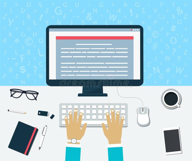 Draufsicht des Arbeitsplatzes Kommen Sie vom Inhalt auf dem Computer herein vektor abbildung