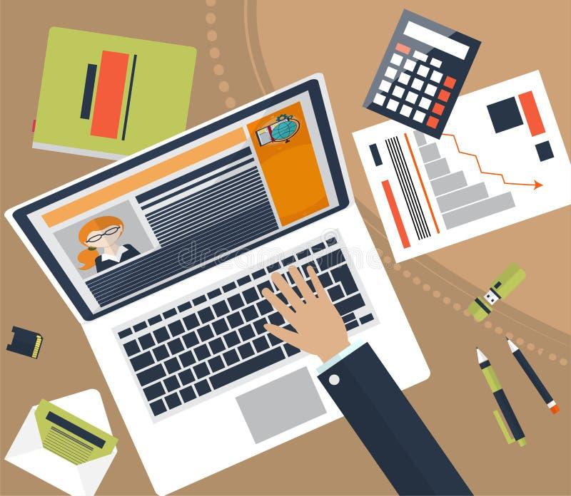 Draufsicht des Arbeitsplatzes mit Dokumenten und Laptop Konzepte für Unternehmensanalyse, beraten, Teamwork, Projektleiter, finan lizenzfreie abbildung