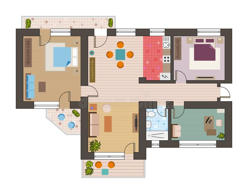 Draufsicht des architektonischen flachen Planes mit Wohnzimmerbadezimmerküchen- und -aufenthaltsraummöbeln vector Illustration lizenzfreie abbildung