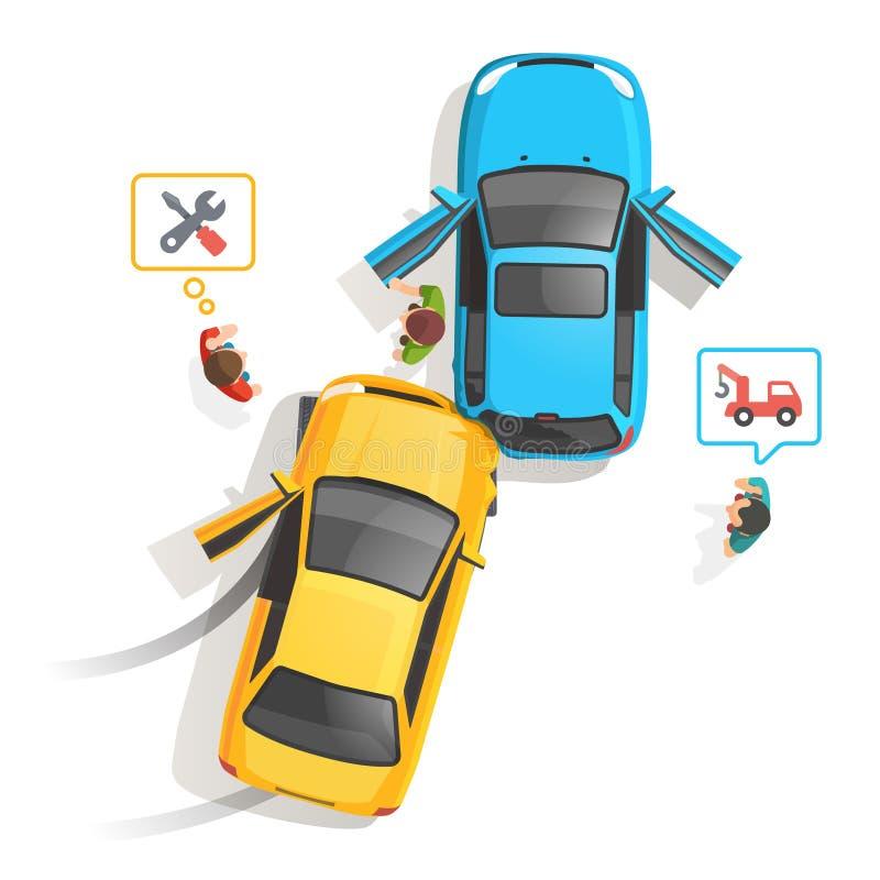 Draufsicht des AutoVerkehrsunfalls lizenzfreie abbildung