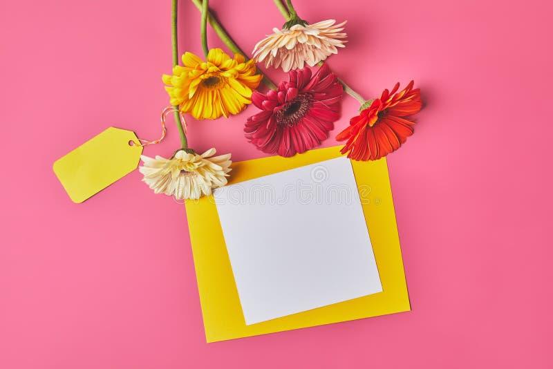 Draufsicht des Bündels des bunten Gerbera blüht mit leerem Papier auf Rosa, Muttertageskonzept lizenzfreie stockbilder