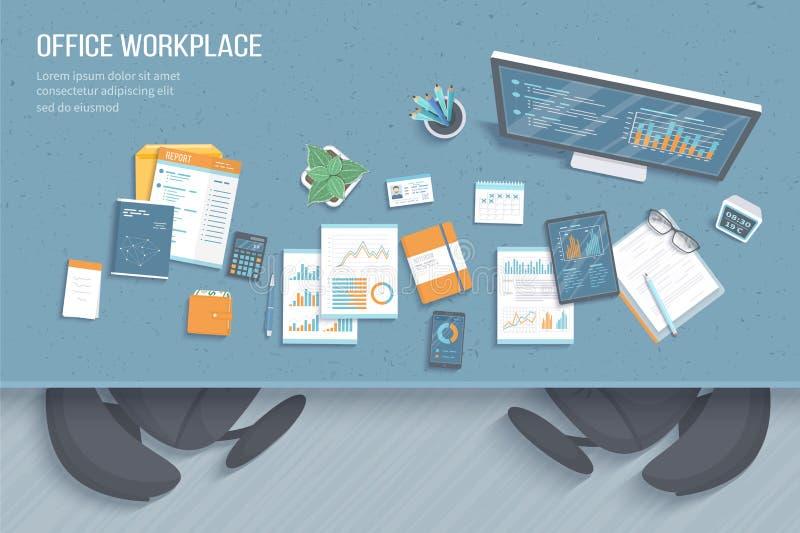 Draufsicht des Büroarbeitsplatzes mit Tabelle, Lehnsessel, Geschäftsbüroartikel Diagramme, Grafiken auf einem Bildschirm stock abbildung