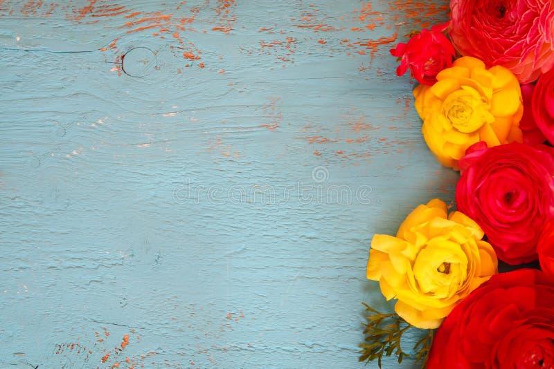 Draufsicht des bunten Frühlinges blüht auf blauem hölzernem Hintergrund Weinlese gefiltert stockfotografie