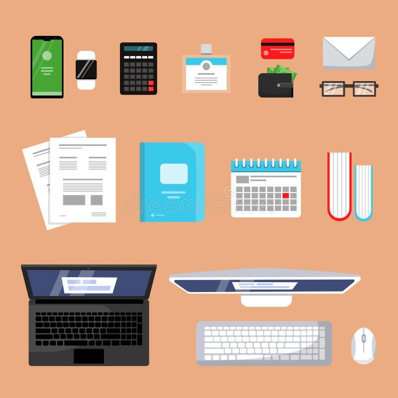 Draufsicht des Geschäfts Finanzierung, die flache Bilder des MaterialBüroorganisations-Einzelteillaptopbuchpapierarbeitsplatz-Vek lizenzfreie abbildung