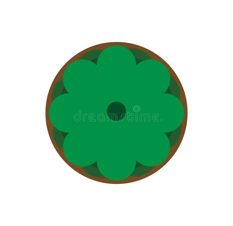 Draufsicht des grünen Blumentopfs Natürlicher Hauptbotanikhintergrund Konzept- des Entwurfesgegenstand des Vektors Blumengartenar vektor abbildung