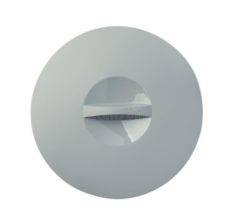 Draufsicht des grauen Silikonwannendeckels stockbild