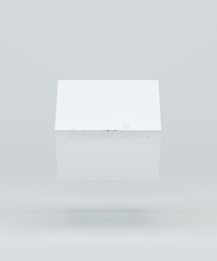 Draufsicht des Milch- oder Saftkastens Kartonkasten mit Modell Weißer klarer leerer Kasten Wiedergabe 3d lizenzfreie abbildung