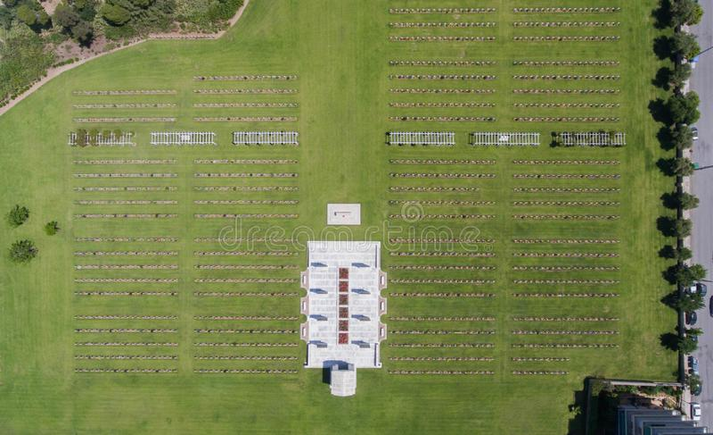Draufsicht des Militärfriedhofs in Athen, Griechenland stockbild