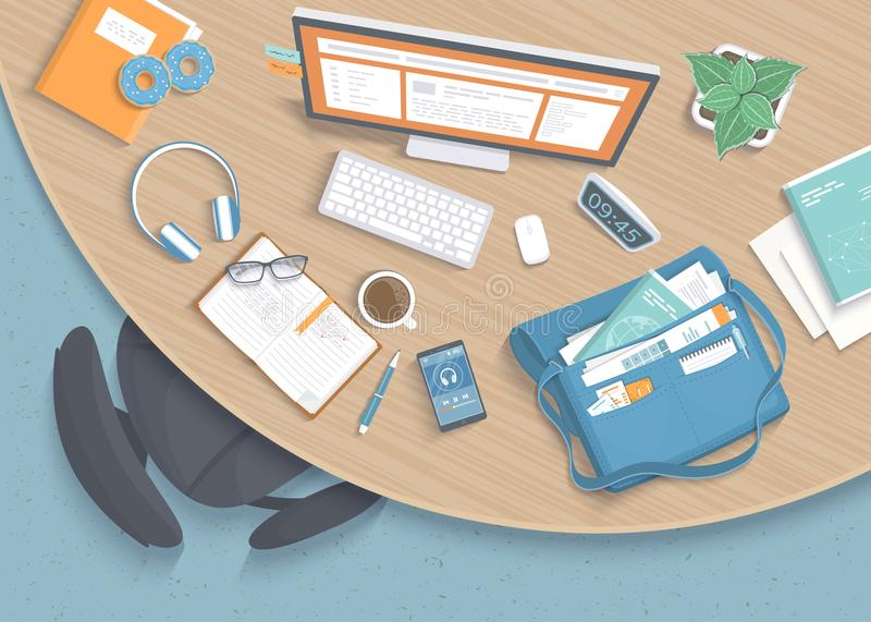 Draufsicht des modernen stilvollen runden hölzernen Schreibtisches im Büro, Stuhl, Büroartikel, Ordner, Tasche vektor abbildung